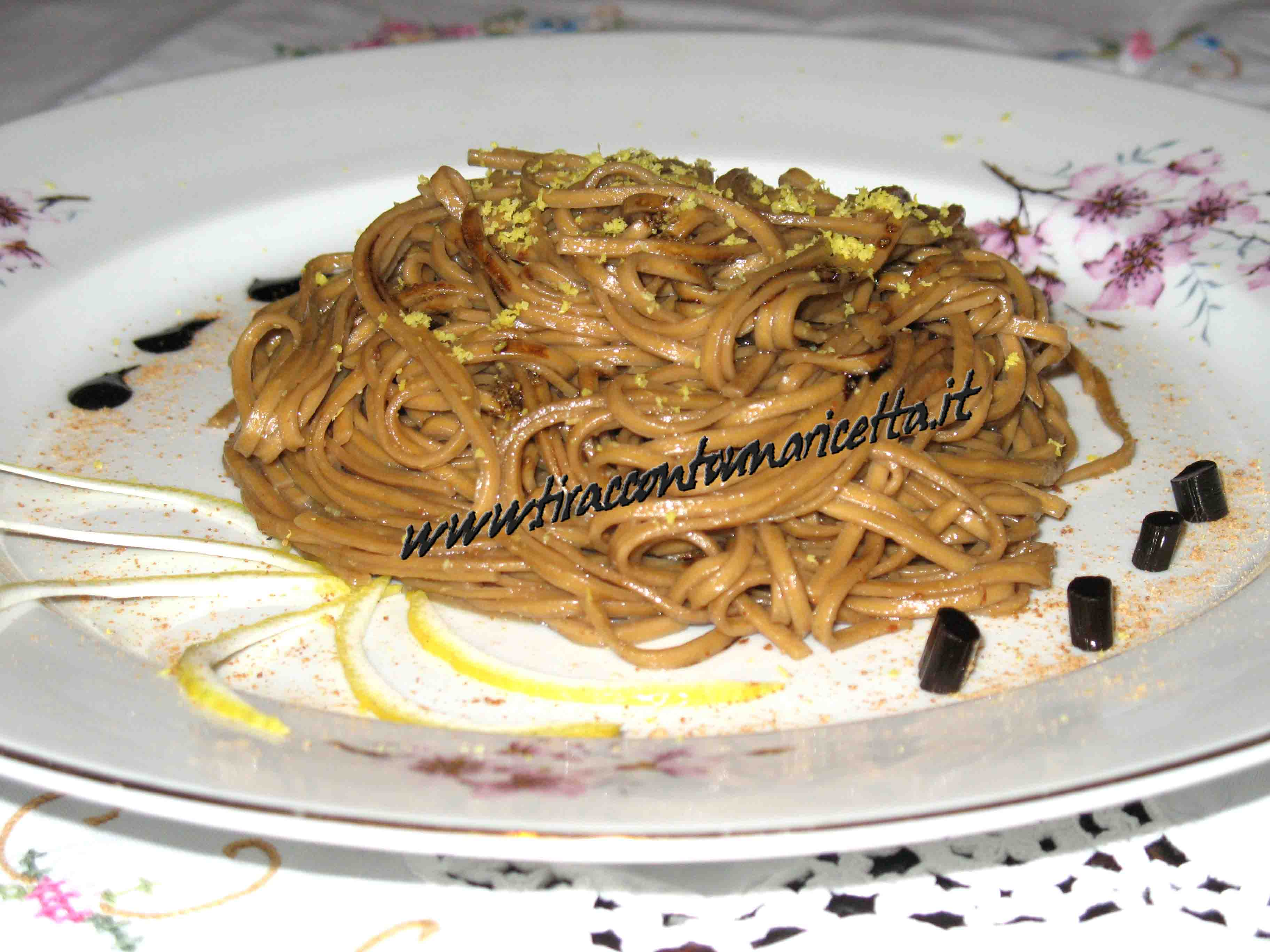 Tagliolini with liquorice with mullet roe and lemon
