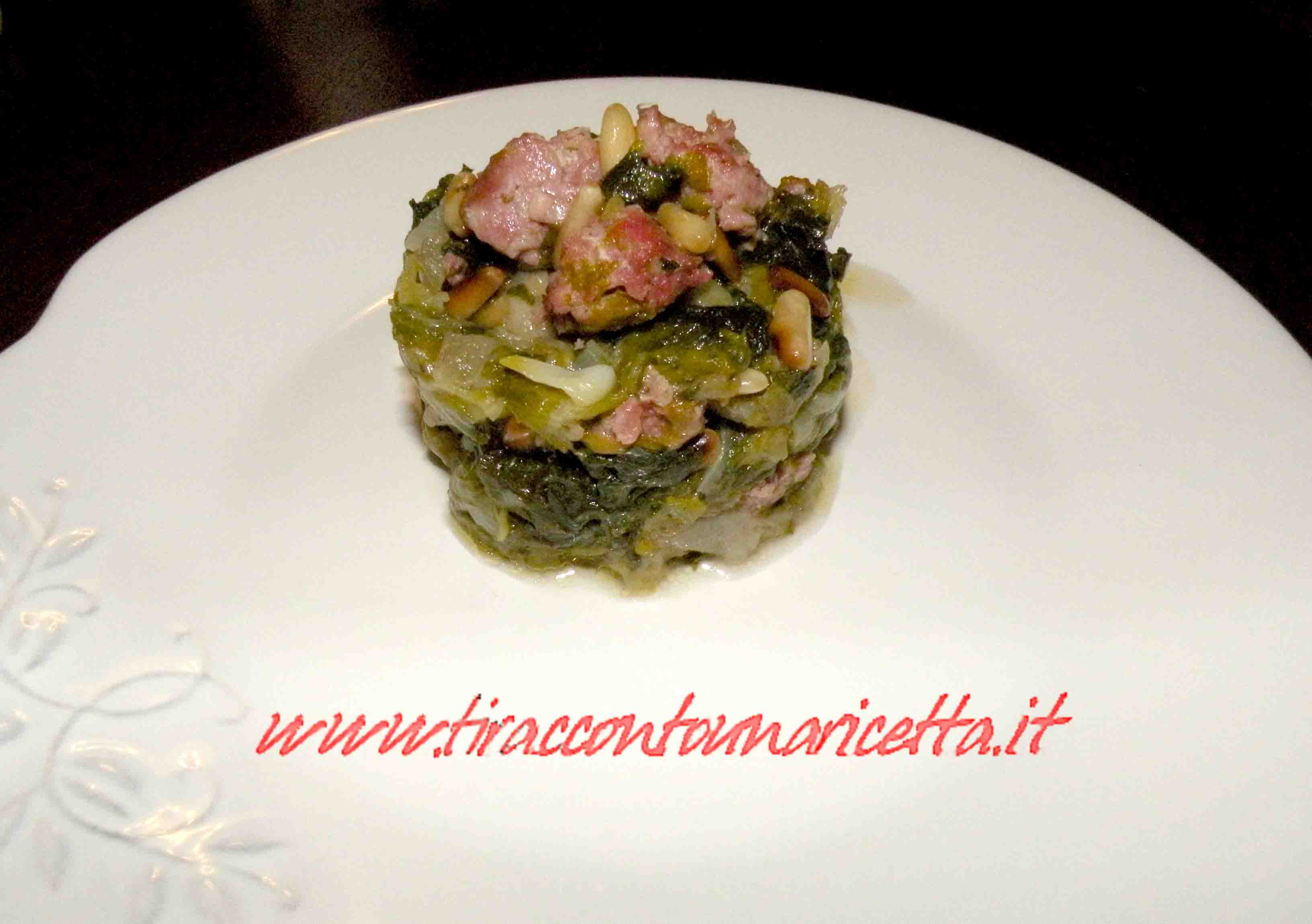 Scarola with sausage and pine nuts