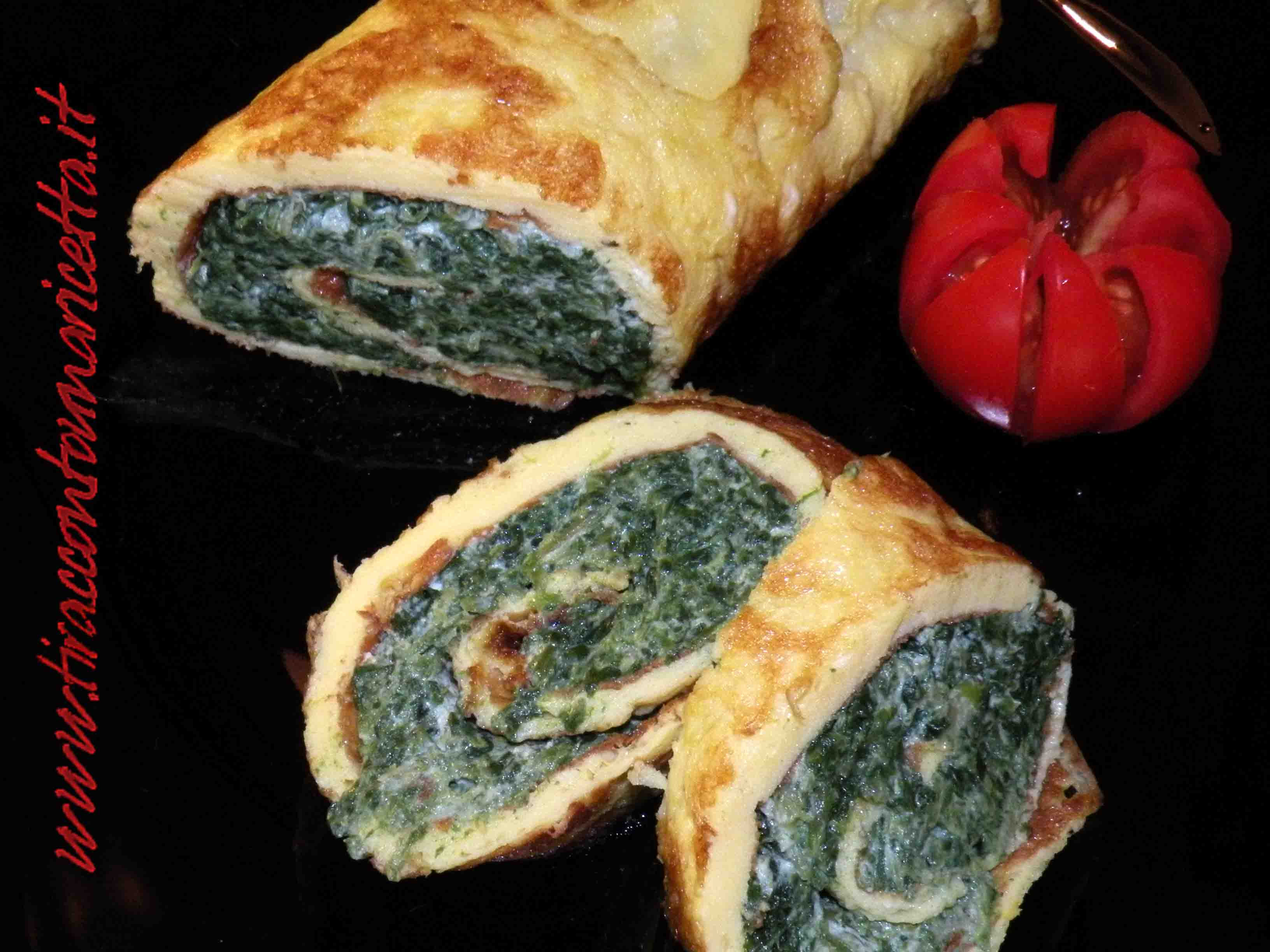Frittata with spinach and ricotta rolled